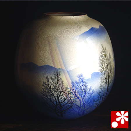 九谷焼 花瓶 銀彩木立(箱なし・ギフト包装不可)【アウトレット】