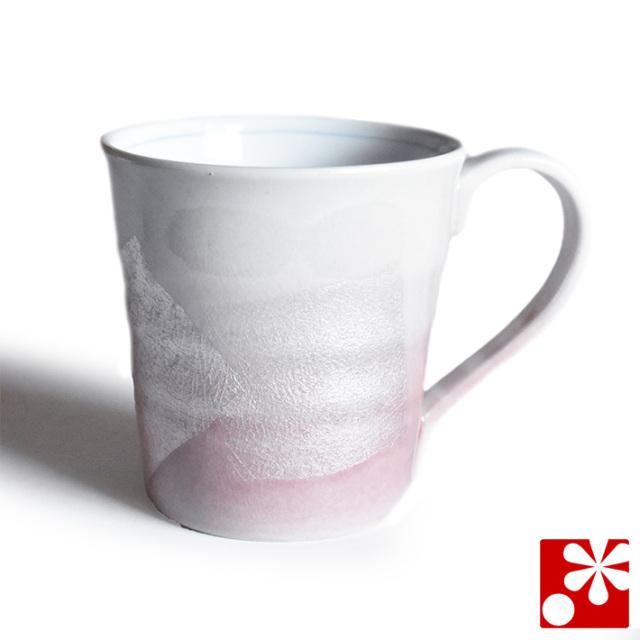 九谷焼 マグカップ 銀彩ピンク【アウトレット】