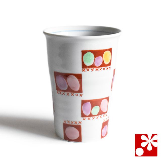 九谷焼 ビアカップ 水玉(赤)【アウトレット】
