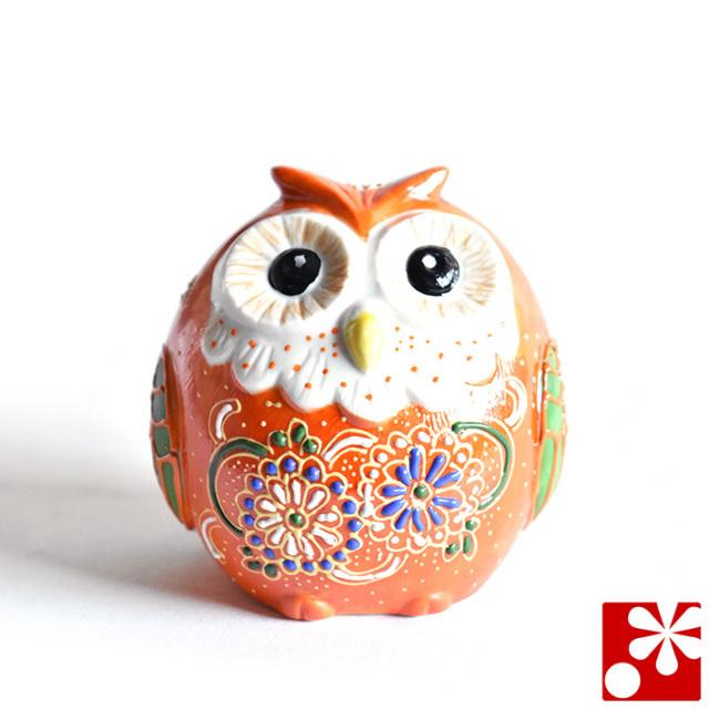九谷焼 ふくろう 紅黄盛(不苦労 フクロウ)(WAZAHONPO-51634)