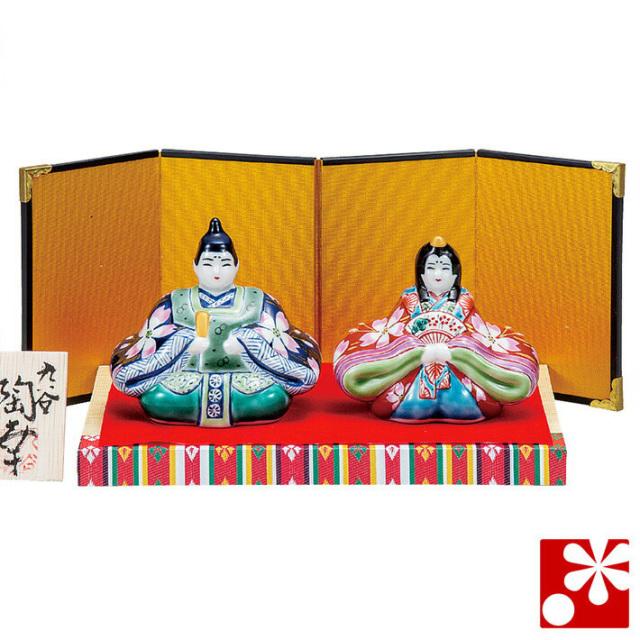 九谷焼 3号雛人形 紺赤桜花紋(台・敷物・立札・屏風付)(WAZAHONPO-51668)