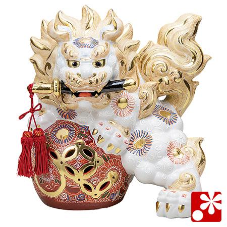 九谷焼 10号剣獅子(高さ31cm) 白盛(WAZAHONPO-61641)