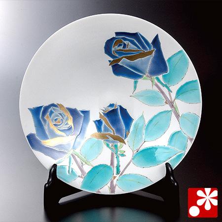 山岸大成 九谷焼 飾絵皿 薔薇(WAZAHONPO-52015)