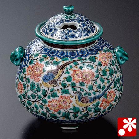 三ツ井為吉 九谷焼 香炉 色絵双鳥(WAZAHONPO-52024)