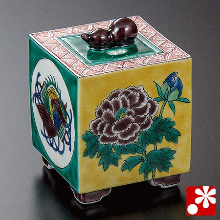 加登明雄 九谷焼 香炉 牡丹に宝尽し(WAZAHONPO-52038)