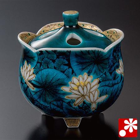 山口義博 九谷焼 香炉 青手睡蓮文豆香炉(WAZAHONPO-52040)