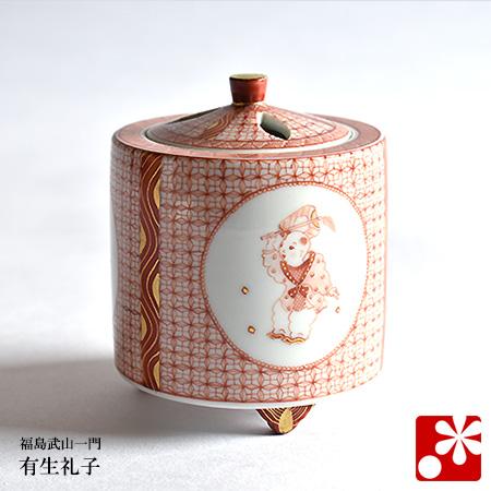九谷焼 香炉 からこ文 有生礼子(福島武山一門 赤絵細描)(WAZAHONPO-52084)