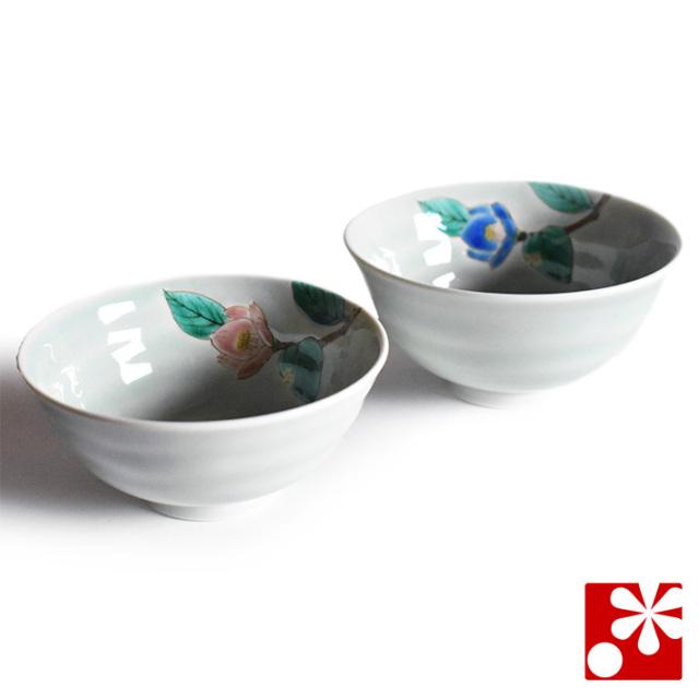 九谷焼 夫婦茶碗 青磁椿【アウトレット】