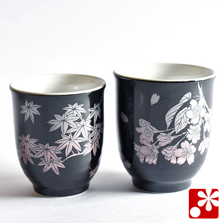 九谷焼 夫婦湯呑 春秋銀彩(WAZAHONPO-50667)