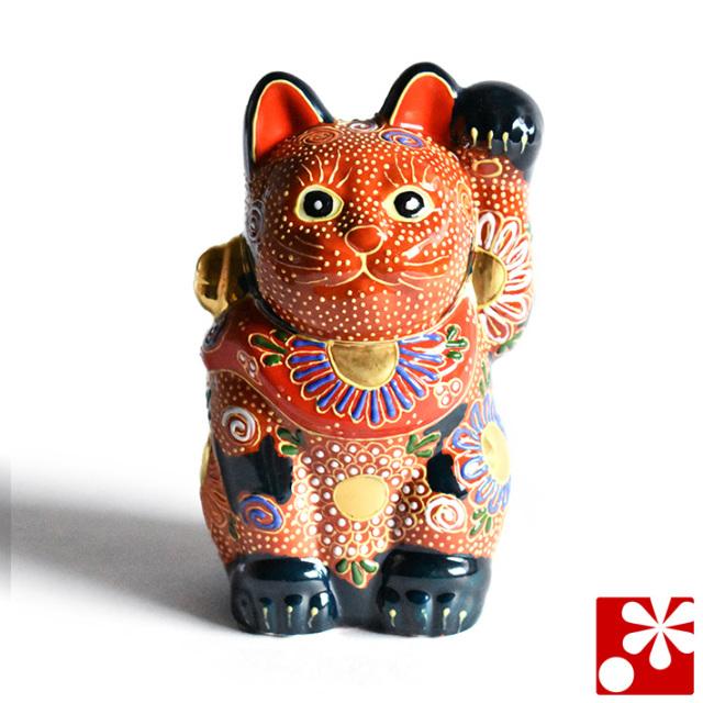 九谷焼 招き猫 置物 紺盛(左手・高 約14cm)(w6-1488)