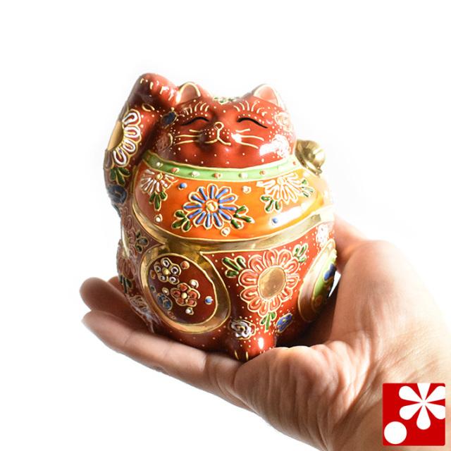 九谷焼 招き猫 置物 盛(右手・高 約12cm)(w6-1496)
