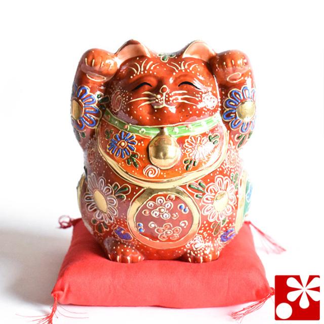 九谷焼 両手 招き猫 置物 盛 座布団付(右手 左手・高 約15cm)(w6-1502)