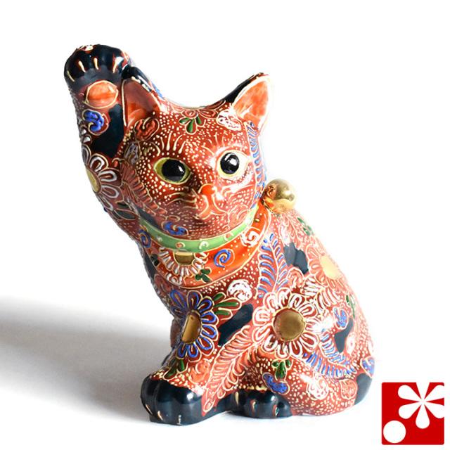 九谷焼 招き猫 置物 盛(右手・高 約16.5cm)(w6-1503)
