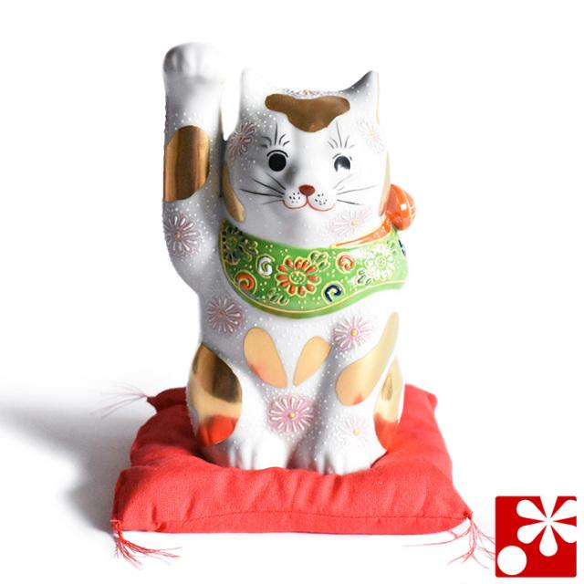 九谷焼 招き猫 置物 金ブチ盛 座布団付(右手・高 約16cm)(w6-1518)
