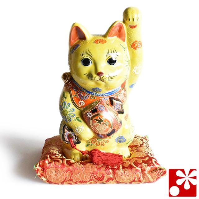 九谷焼 打ち出の小槌 招き猫 置物 黄盛 座布団付(左手・高 約27cm)(w6-1534)