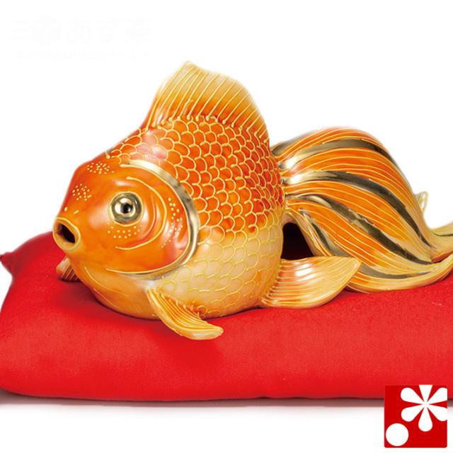 九谷焼 7号 金魚 紅盛 座布団付(w6-1622)