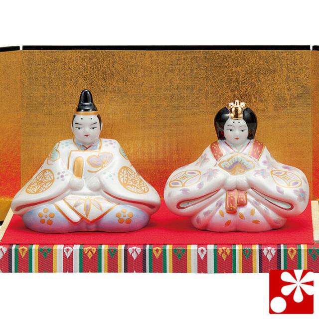 九谷焼 3号雛人形 金銀釉彩(台・敷物・立札・屏風付)【アウトレット】
