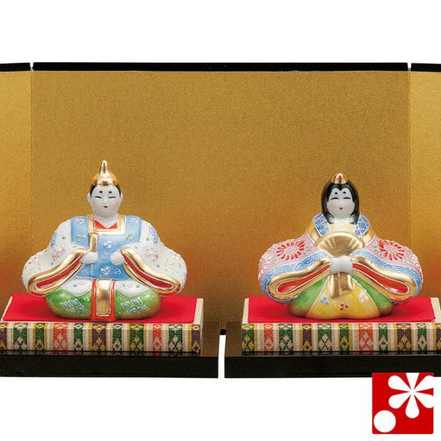 九谷焼 3号雛人形 白盛(台・敷物・立札・屏風付)(WAZAHONPO-41790)