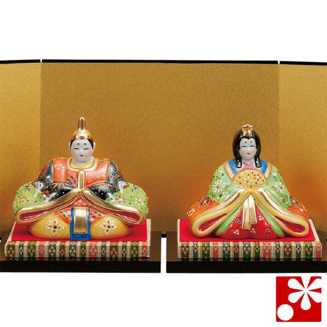 九谷焼 5号雛人形 黒紅盛(台・敷物・立札・屏風付)(WAZAHONPO-41798)