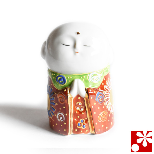 九谷焼 小さな守苦福 お地蔵様 赤茶盛(高さ8cm)(kome-16)