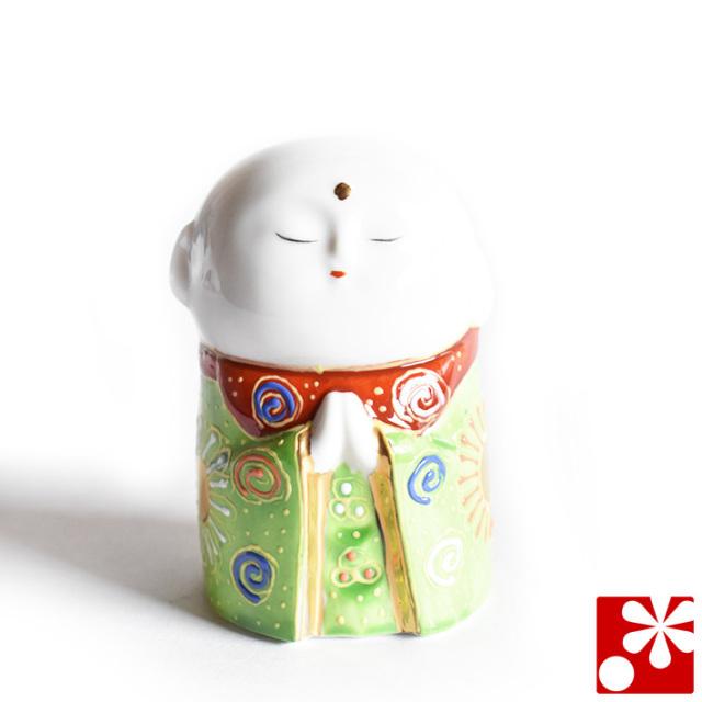 九谷焼 小さな守苦福 お地蔵様 黄緑盛(高さ8cm)(kome-19)