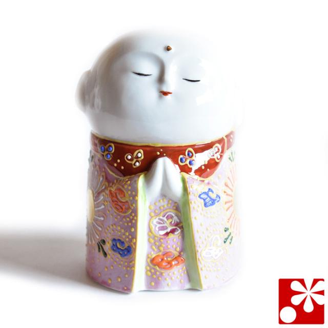 九谷焼 守苦福(祝福)お地蔵様 ピンク盛(高さ10cm)(kome-29)