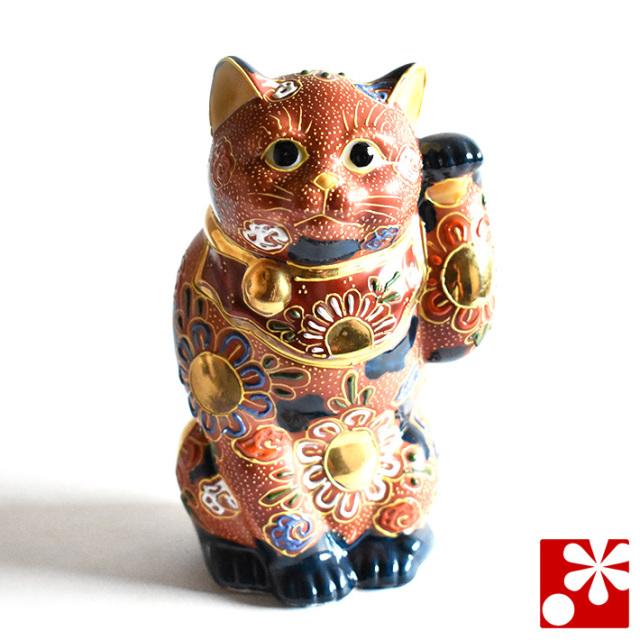 九谷焼 招き猫 オールドタイプ 置物 紺盛(Kome-14)