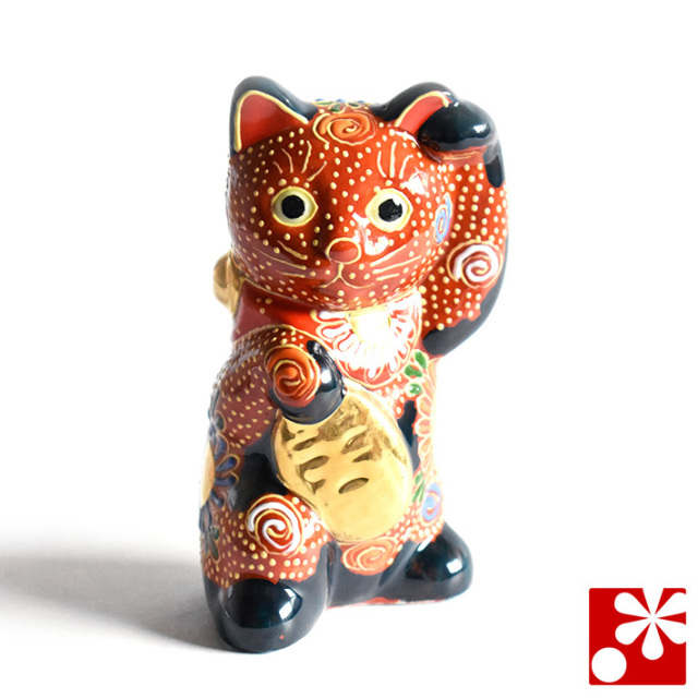 九谷焼 小判 招き猫 置物 茶盛(Kome-9)