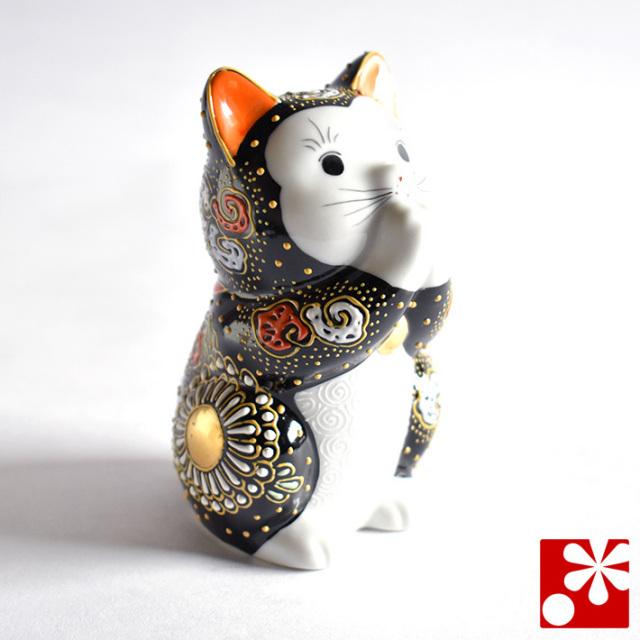 お祈り猫(中型) 特上黒盛(WAZAHONPO-oinori-black2)