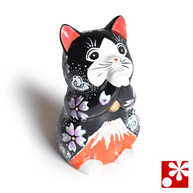 九谷焼 お祈り猫 置物 赤富士(高 約11.5cm)(NS-0003)