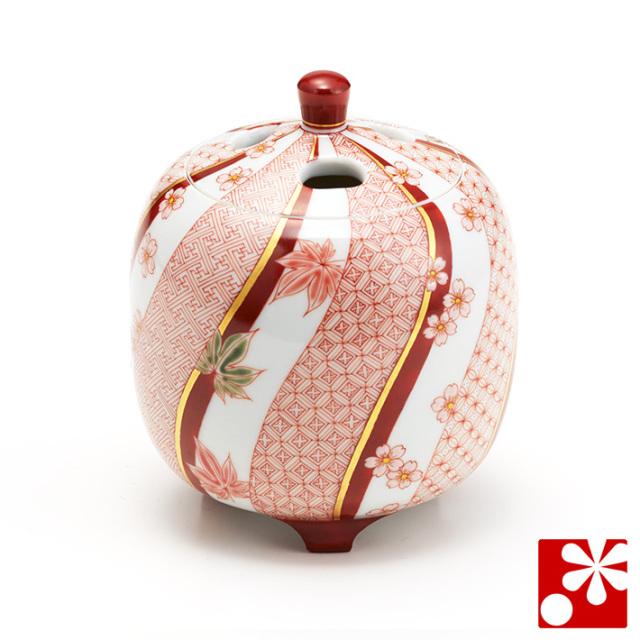 九谷焼 香炉 赤絵春秋文 林美佳里(福島武山一門 赤絵細描)(WAZAHONPO-52085)