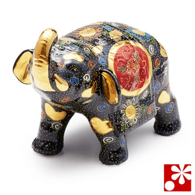 九谷焼 凸盛コレクション 象 黒盛(WAZAHONPO-D-003)