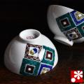 九谷焼 夫婦茶碗 石畳(WAZAHONPO-20537)