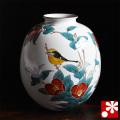 九谷焼 特大花瓶 椿にモズ(4-1425)