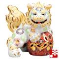 九谷焼 6.5号立獅子(左) 白盛(WAZAHONPO-41859)