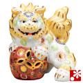 九谷焼 6.5号立獅子(右) 白盛(WAZAHONPO-41860)