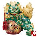 九谷焼 8号剣獅子 緑彩(WAZAHONPO-41864)
