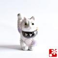 九谷焼 招き猫(右手) 花むらさき(WAZAHONPO-51550)