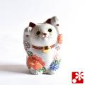 九谷焼 両手招き猫(右手・左手) 花づくし盛(WAZAHONPO-51560)