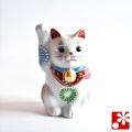 九谷焼 招き猫(右手) 白盛(WAZAHONPO-51576)