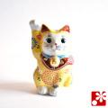 九谷焼 招き猫(右手) 黄盛(WAZAHONPO-51580)