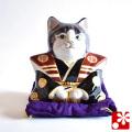 九谷焼 福助招き猫(左手) 紋付袴(WAZAHONPO-51585)