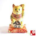 九谷焼 小判招き猫(左手) 黄盛 座布団付(WAZAHONPO-51592)