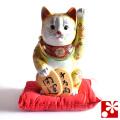 九谷焼 小判招き猫(左手) 黄盛 座布団付(WAZAHONPO-51601)