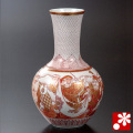 澤田富雄 九谷焼 花瓶 赤絵七福神(WAZAHONPO-52035)