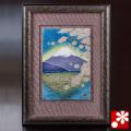 山口義博 九谷焼 陶額 彫釉彩不二に桜文(WAZAHONPO-52041)