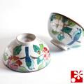 九谷焼 夫婦茶碗 椿に鳥(WAZAHONPO-50479)