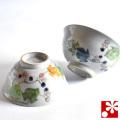 九谷焼 夫婦茶碗 野ぶどう(WAZAHONPO-50481)