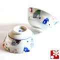 九谷焼 夫婦茶碗 染付扇文 櫻井千絵(WAZAHONPO-50502)