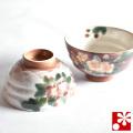 九谷焼 夫婦茶碗 海棠 青良窯(WAZAHONPO-50522)